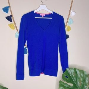 Lilly Pulitzer Royal Blue Pink Cuff  Sweater